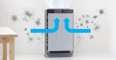 Luftreiniger zieht schmutzige Luft ein und gibt sie sauber wieder aus